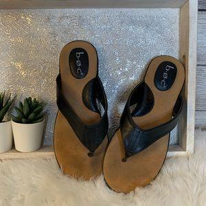 BOC Vegan Leather Flip Flops Black And Tan